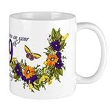 Tazza 99° compleanno con farfalle e tazze, bianca