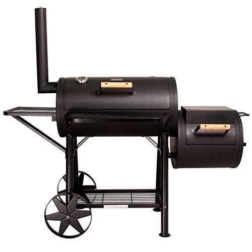 TAINO Yuma Massiver Smoker BBQ GRILLWAGEN Holzkohle Grill 90 kg 3,5mm inkl. 3er Set Gussroste