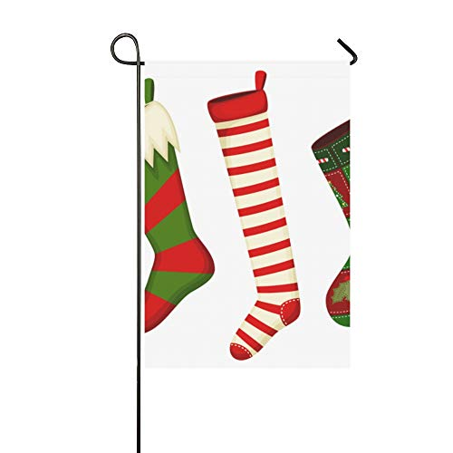 VNASKL Home Decorative Outdoor Garden Welcome Flag Double Sided Print Cartoon Cute Christmas Socks Garden Flag Farmhouse Flag for Garden 12x18 Inch Spring Summer Gift