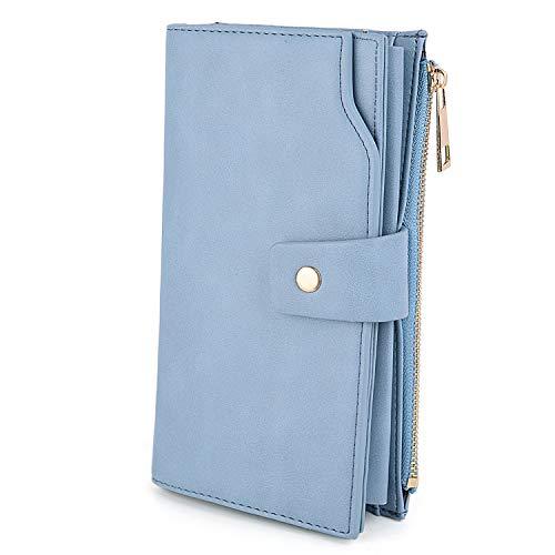 UTO - Mujer Cartera de Bloqueo de RFID PU Cuero Monedero Largo 21 Ranuras para Tarjetas Monedero Gran Capacidad Bolsillo para Móvil Azul Claro