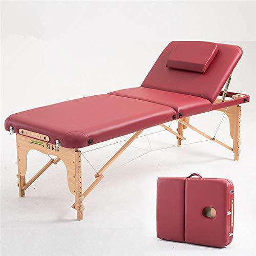 70 cm Breed 3 voudig Draagbare Massage Tafel Hardhout Frame Verstelbaar Bed Opvouwbaar Wine Red Color