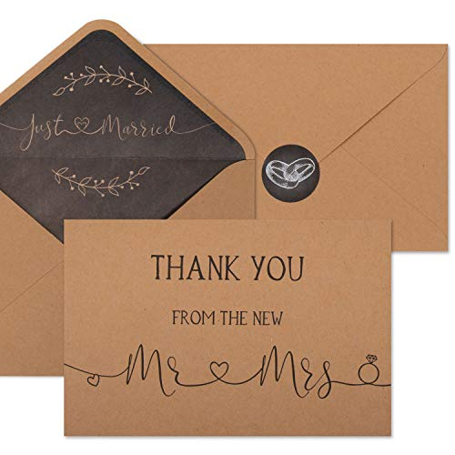 """100 Wedding Thank You Cards with Envelopes & Stickers 