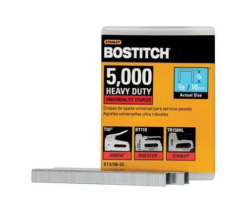 BOSTITCH Staples, Heavy Duty, Construction Grade, 3/8 x 2/5-Inch, 5000-Pack (BTA706-5C)