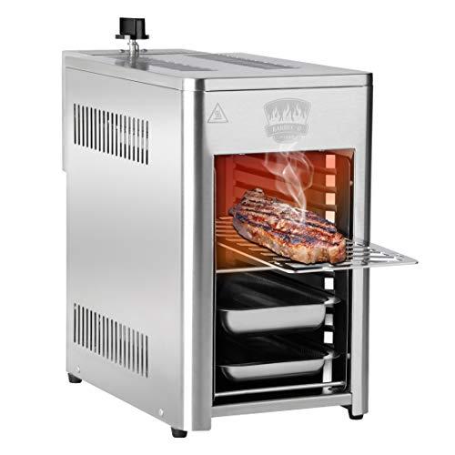 Meateor Hochleistungsgrill 800 Grad Pure Steak-Grill, Beefer Grill, Oberhitzegrill, Edelstahl inkl. Grillrost, Auffangschale, Warmhalteschale, 3,4 kW, 10 Grillebenen, elektr. Zünder