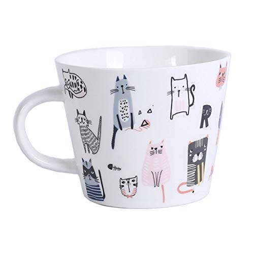 YHshop Taza de café Taza de cerámica Taza del Desayuno patrón Pintado a Mano Linda microondas Taza de cerámica Blanca Horno de 360 ml Taza de café Taza de Agua de la Taza Taza de Agua
