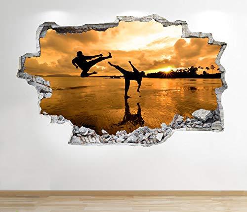1Stop Graphics Shop Karate Wandaufkleber 3D Optik - Meer Sonnenuntergang am Strand Schlafzimmer Lounge Z128 - Small: 40 cm x 79 cm