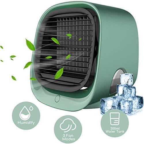 Mobile Klimageräte, YOMERA Mini Persönliche Klimaanlage 3 in 1 Luftkühler USB Lufterfrischer mit 3 Geschwindigkeiten 7 Farben LED Air Cooler für Zuhause Schlafzimmer Büro Auto Camping (Grün)