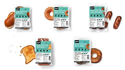 BenFit High Protein Kennenlern-Paket (2 Toast, 4 Brötchen, 4 Bagel Sesam, 4 Laugenstangen, 4 Bagel Mohn und1 Riegel Protein Schokolade Knsuper)