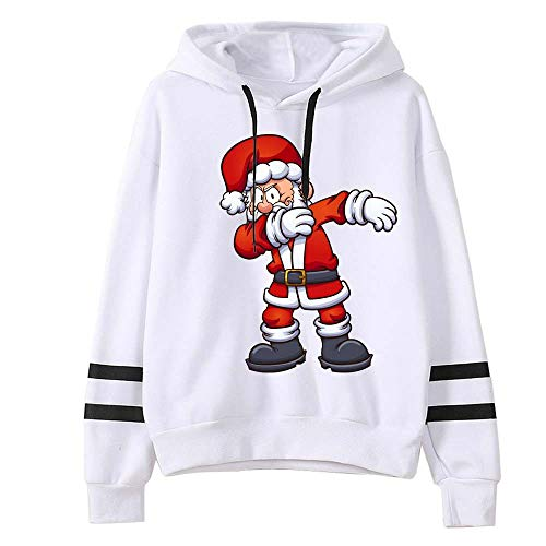 jkhhi pullover Tops Sweatshirt mit Kapuze Hoodie Weihnachten Langarm T-Shirts Sweatshirts Drucken Blusen mit Santa Casual New Christmas Shirts Mädchen Herbst Winter Warmes Hemd
