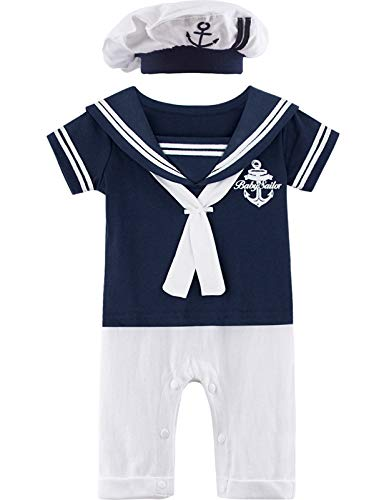 MOMBEBE COSLAND Mono Bebé Niño Disfraz Marinero Manga Corta Boina Algodón (0-3 Meses, Azul Real)