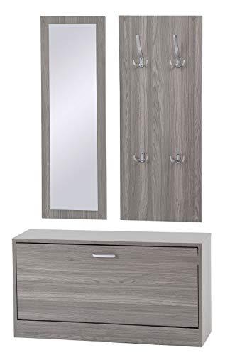 ts-ideen Set di 3 pezzi Guardaroba Scarpiera Mobile per le scarpe Panca Specchio con effetto legno bianco