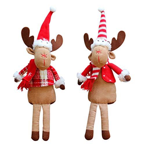 Amosfun 2 Piezas de Peluche de Navidad de Peluche de Pierna Larga sentada Reno muñeca Navidad decoración del...