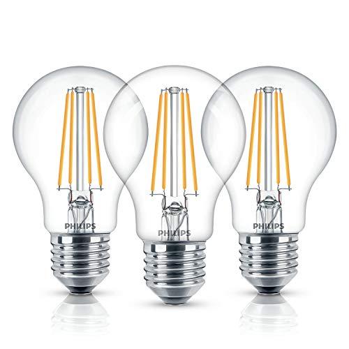 Philips LEDclassic Lampe, ersetzt 60W, Standardform, E27, Warmweiß (2700 Kelvin), 806 Lumen, 3erPack, klar