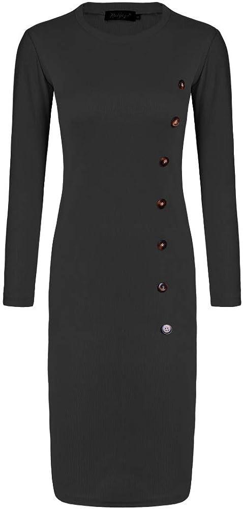 Keven Damen Feinstrickkleid Rundhals Langarm Knielang Pullover Kleid mit Gürtel Strickkleid Schwarz1