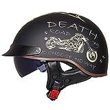 TYXTYX Casco de Moto Harley de Cuero Retro para Adultos Cascos de Motocicleta de Media Cara con Gafas Máscara Casco de Motocross Fresco Cascos de Moto Hombre Retro Scooter Helmet Chopper Cruiser