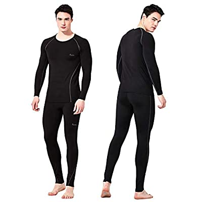 Feelvery Men's HEATPRO Active Performance Long Johns Thermal Underwear Set with Excellent Soft Warm Fleece Lined (No Fly_Black_1 Set, Large)