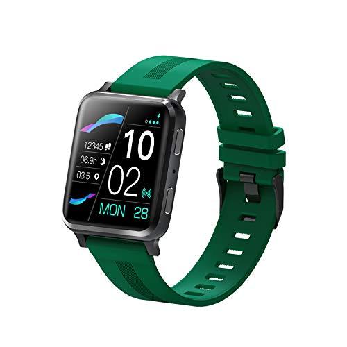 KUKU Reloj Inteligente, Monitor de Ritmo cardíaco, Reloj Digital Impermeable IP67, Reloj de Fitness para Mujeres para Hombres con podómetro Calorie Sleep Tracker,Verde