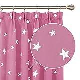 Deconovo Verdunkelungsvorhang Lichtdicht Lichtundurchlässig Vorhänge Sterne mit Kräuselband Kinderzimmer 160x132 cm Pink 2er Set