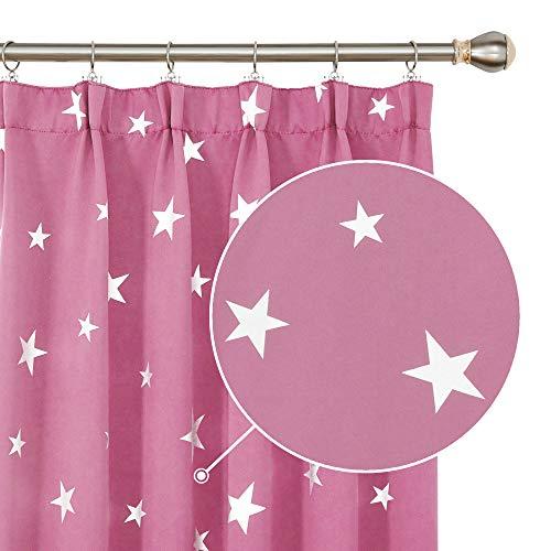 Deconovo Supermjuk termisk isolerad penna veck stjärna tryckta mörkläggningsgardiner för sovrum 16 x 183 cm rosa 2 paneler