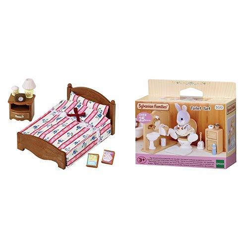 Sylvanian Families 5019 Doppelbett, Puppenbett, Mehrfarbig &  Families 5020 Toiletten Set und Accessories, 10,3 x 3,4 x 8 cm
