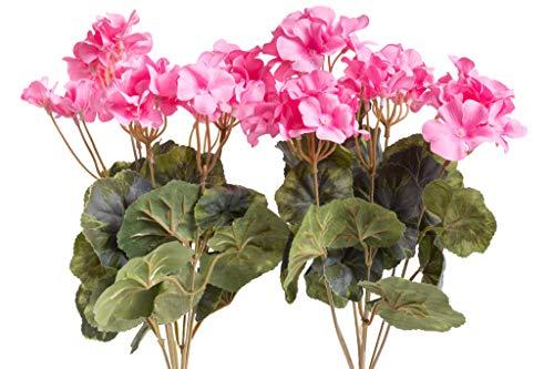 Evergreens künstlicher Geranienbusch mit 7 Stielen und 3 kleinen und 4 größeren Blütenköpfen (2 Stück) (pink)
