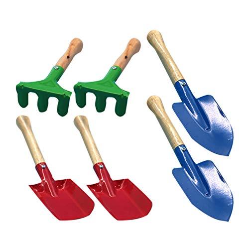 LIOOBO 6 Stücke Bunte Kinder Gartengeräte Mini Holzgriff Kelle Schaufel Gabel Gartengerät Spielzeug für Kinder