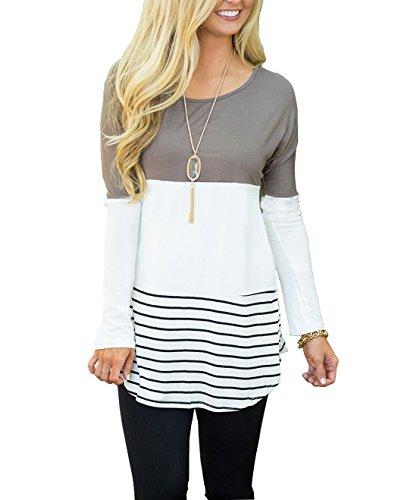 Womens V Neck Shirts Long Sleeve Waffle Knit Loose Fitting Warm Tee Tops (X-Large, White)