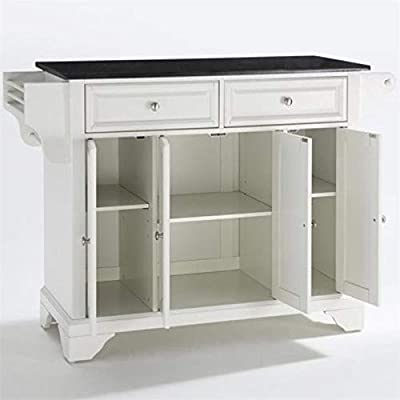 BOWERY HILL Solid Black Granite Top Kitchen Island in White from Bowery Hill