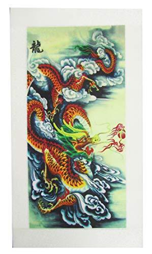 CHN Elements.home&kitchen L-S134 Delicate Good Luck Feng Shui Wanddekoration, Seidenrolle mit chinesischem Gemälde und Kalligraphie auf Drache (1 Meter lang)