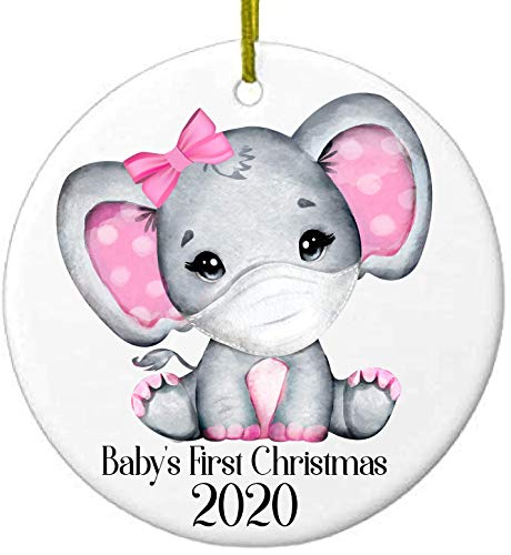 2020 Christmas Keepsake Ceramic Ornament Baby's First Christmas Covid Coronavirus Girl Elephant