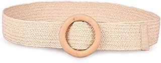MYCHOMEUU New Women's Wood Buckle PP Lafite Elastic Braided Hemp Rope Summer Belt (Color : Beige, Size : 80-100cm)
