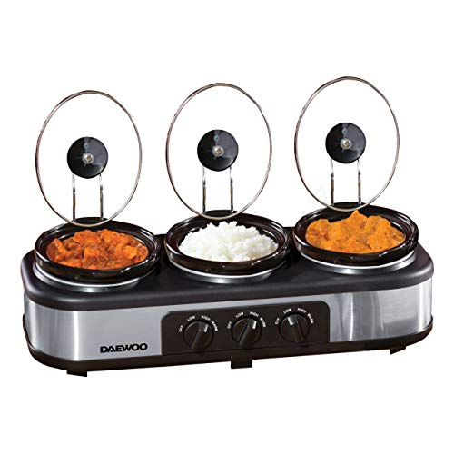 Daewoo sda1334 3 x 1.5L Triple Slow Cooker | 3 Individual Heat Dishwasher Safe Pots | Easy to Clean | Non-Stick Ceramic | Manual Temperature Control | 300W, Grey