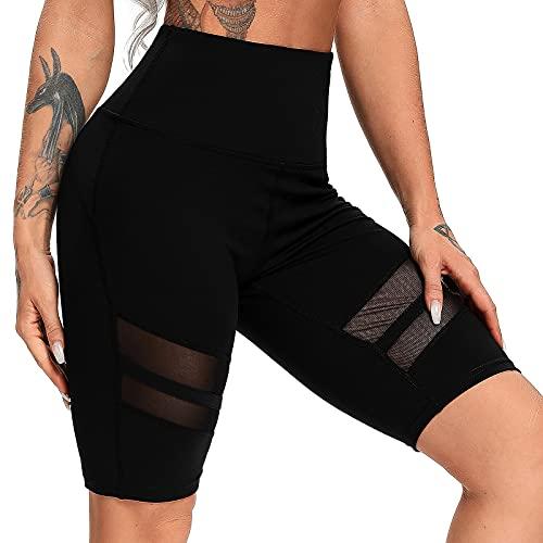 FITTOO Pantalones Cortos Clásico Leggings Mujer Mallas Yoga Alta Cintura Elásticos Transpirables #3 Negro & Malla XL