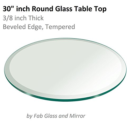 "30"" Inch Round Glass Table Top 3/8"" Thick Tempered Beveled Edge by Fab Glass and Mirror"
