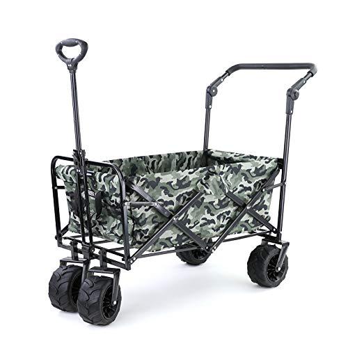 Ramroxx 37967 Offroad Faltwagen Bollerwagen klappbar Breitreifen 80kg Camourflage 2 Schwarz