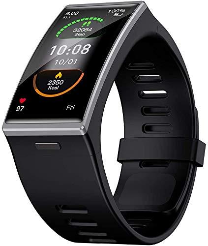 ZHENAO Reloj Inteligente de Deportes de Moda para Hombres, Ip68 a Prueba de Agua con Ritmo Cardíaco Monitor de Presión Arterial Monitor Fitness Tracker Smart Mulbanda, para Ios 9.0