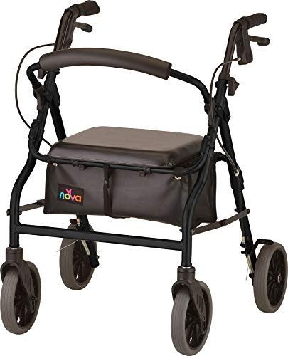 NOVA Medical Products Zoom Rollator Walker with 20quot Seat Height Black