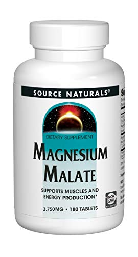 Source Naturals Magnesium Malate - 1250 mg Per Serving - Essential Magnesium Malic Acid Supplement - 180 Tablets