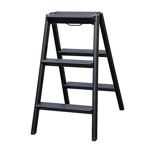 Schritt Hocker, Haushalt Aluminium Schritt Hocker, Klappleiter, Eindickung Leiter Leiter Hocker Stabilität und Sicherheit (Color : Schwarz)