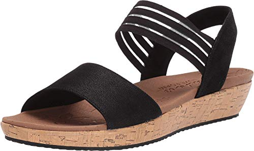 Skechers Women's Brie-LO'PROFILE-Stretch Mesh Vamp Sling Back Sandal Sport, Black, 7 M US