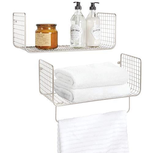 mDesign Juego de 2 estantes de Pared para el Cuarto de baño, el Garaje o el lavadero – Versátiles estantes de Metal – Práctico Juego de 2 cestas de Rejilla con Barra para Toallas – Plateado Mate