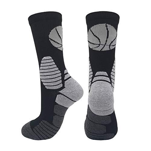 Elite Basketball-Socken für Herren/Damen/Teenager, Jungen und Mädchen, Sportsocken, 2 Paar - Schwarz - Large