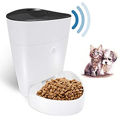 OWON Automatic Cat Feeder, 4L WiFi Smart Pet Feeder, Programmable Timer Dog Cat Food Dispenser, 1-8 Meals Per Day Controlled by iPhone & Android