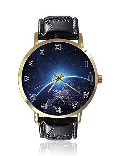 Planet from The Space at Night Galaktische Astronomie Themed Ethereal Interstellar Image Herrenarmbanduhren Sportuhr Casual Uhren für Herren