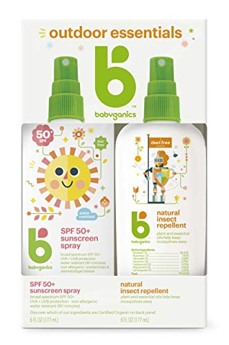 Babyganics Baby Sunscreen Spray 50 SPF and Bug Spray 6oz each Packaging May Vary