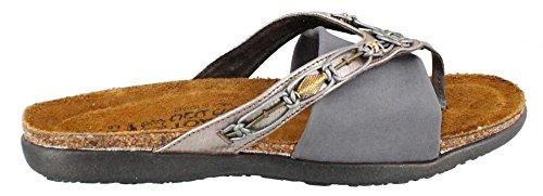 Naot Footwear Women's Jennifer Silver Threads Lthr/Gray Suede/Gray stretch Slide Sandal 9 M US