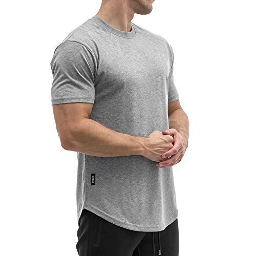 Sixlab Round Tech Herren Oversize T-Shirt Muscle Basic Gym Fitness Shirt (Grau, XL)