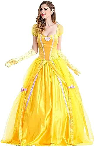 DZC Mujer Belle Princesa Vestir la Belleza y la Bestia Traje de Lujo Largo Tul Falda de Tul con Guantes Adultos Cuento de Hadas de Hadas Halloween Navidad Carnaval Cosplay Party Outfit,Amarillo,XXL