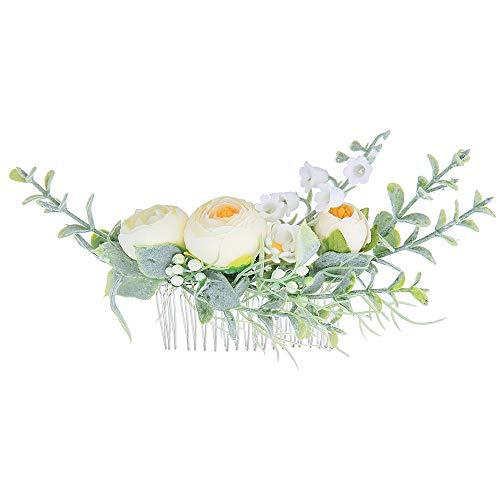 JUZEN Banda para el Cabello de Flores Corona Nupcial Tocado Corona de Rosas Amarillas Accesorios para el Cabello Tejidos a Mano Flor Niang Accesorios para el Cabello Flower Boy Nini Peine