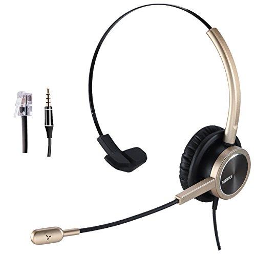 Handy-Headset mit RJ9 für Cisco Phone Call Center Headset mit Geräuschunterdrückung Mikrofon mit extra 3,5 mm Anschluss für Handys